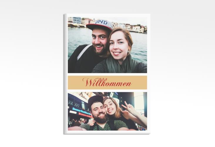 """Willkommensschild Hochzeit """"Collage"""" 50 x 70 cm Leinwand apricot"""