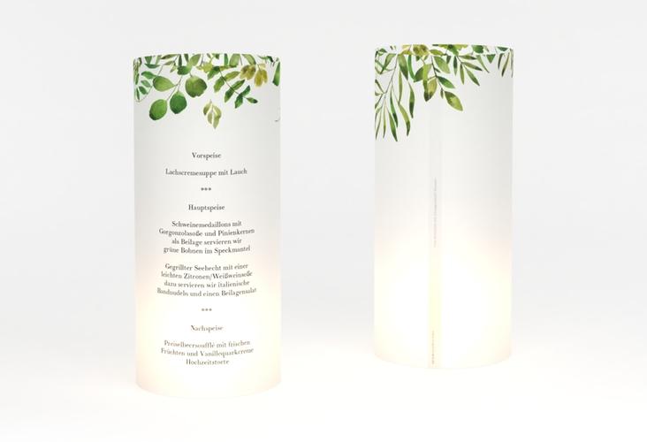 """Windlicht Menü Hochzeit """"Botany"""" Windlicht weiss"""