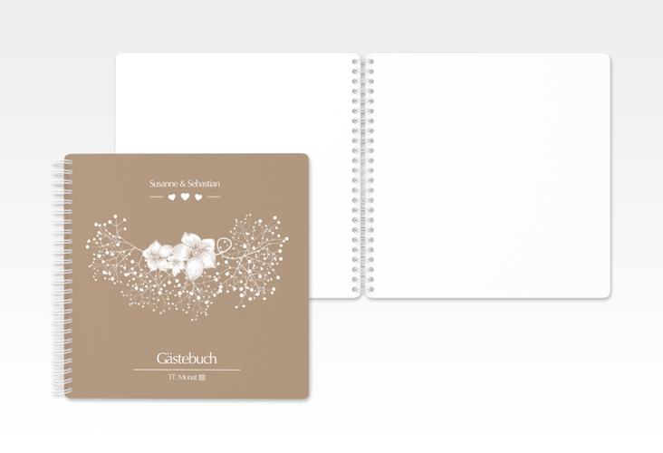 "Gästebuch Hochzeit ""Jena"" Ringbindung braun"