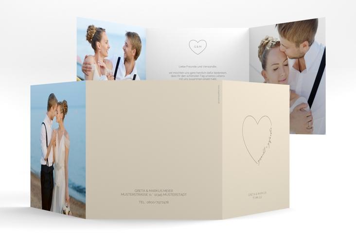 """Danksagungskarte Hochzeit """"Lebenstraum"""" Quadr. Karte doppelt beige"""