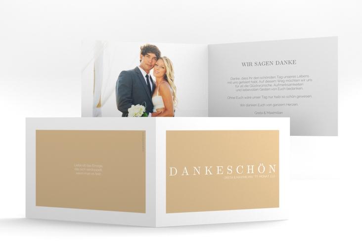 """Dankeskarte Hochzeit """"Simply"""" A6 Klappkarte Quer beige"""