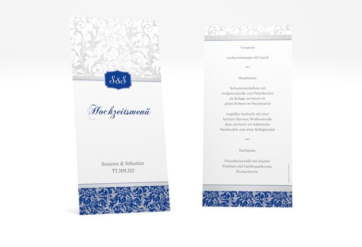 """Menükarte Hochzeit """"Latina"""" DIN lang hoch blau"""