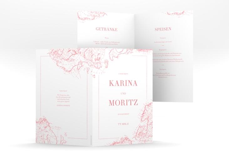 """Menükarte Hochzeit """"Voyage"""" DIN A5 geklappt rosa"""
