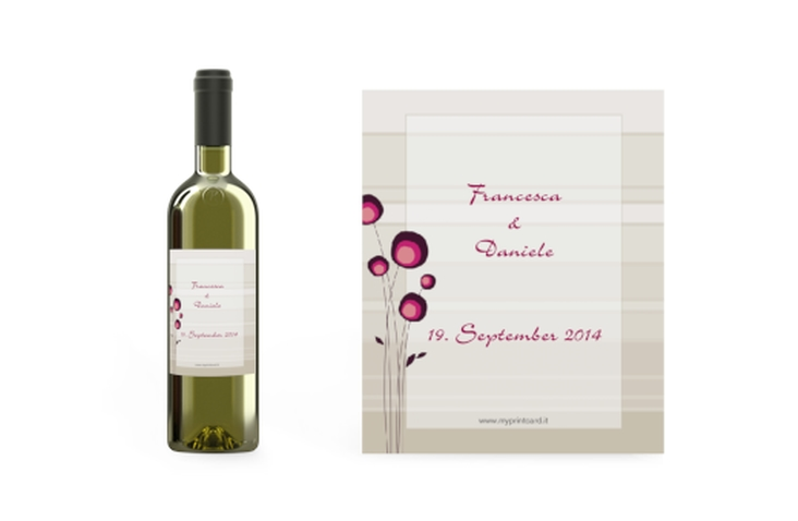 Etichette vino matrimonio collezione Tivoli Etikett Weinflasche 4er Set