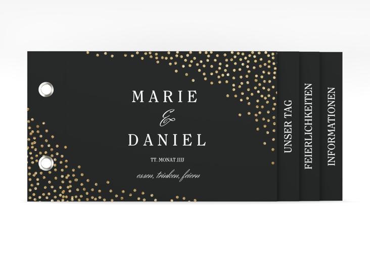 """Hochzeitseinladung """"Glitter"""" Booklet schwarz"""