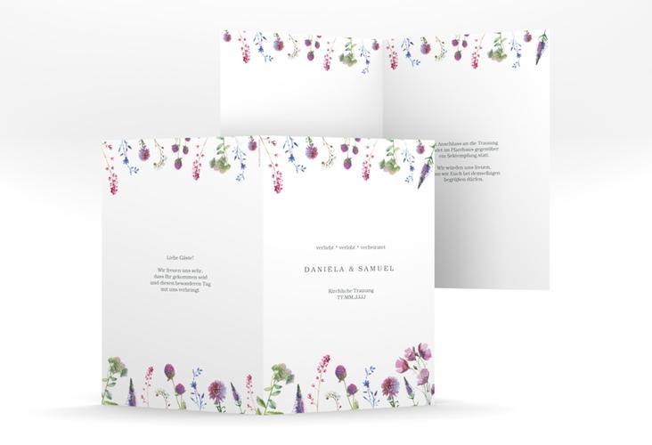 """Kirchenheft Hochzeit """"Wildblumen"""" DIN A5 geklappt weiss"""