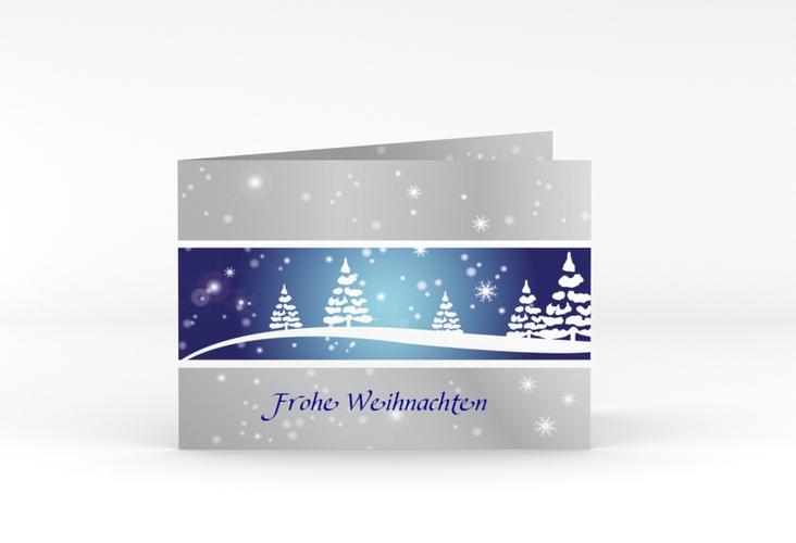 "Weihnachtskarte ""Magical"" A6 Klappkarte Quer blau"