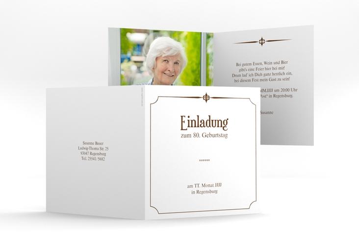 """Einladungskarte """"Helmut/Helmine"""" Quadratische Klappkarte braun"""