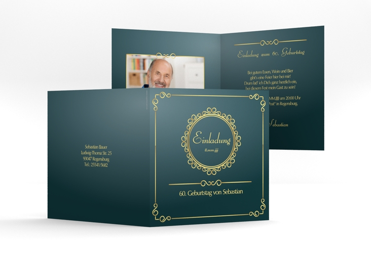 "Einladungskarte ""Bert/Berta"" Quadratische Klappkarte blau"