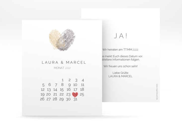 "Save the Date-Kalenderblatt ""Fingerprint"" Kalenderblatt-Karte beige"
