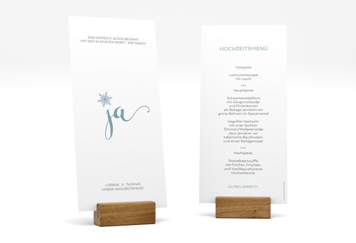 """Menükarte Hochzeit """"Snowflake"""" DIN lang hoch blau"""