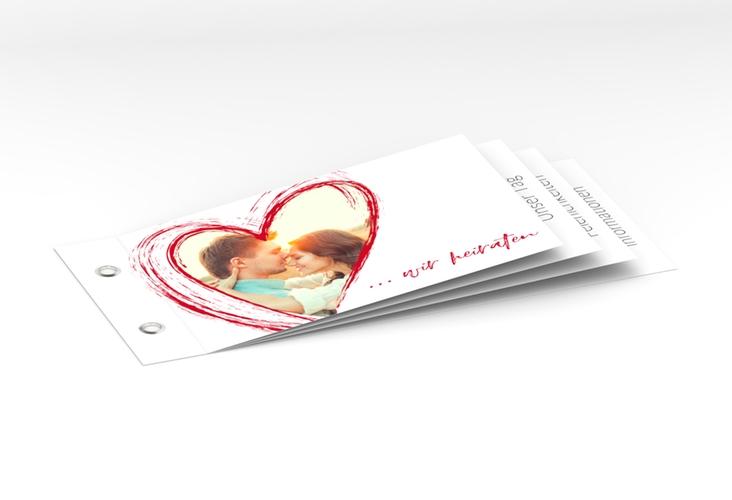 """Hochzeitseinladung """"Liebe"""" Booklet rot"""