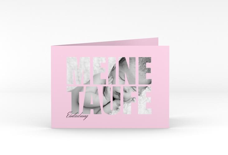 """Einladungskarte Taufe """"Blessing"""" A6 Klappkarte Quer rosa"""