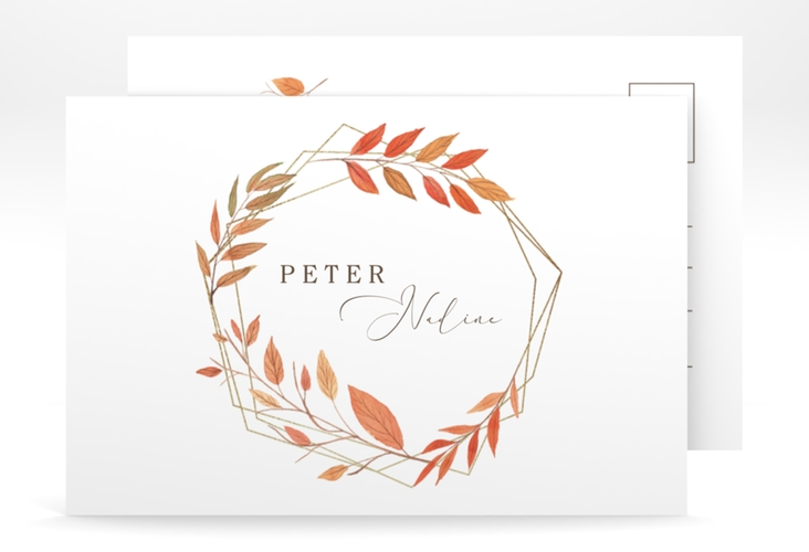 """Save the Date-Postkarte """"Herbst"""" A6 Postkarte weiss"""