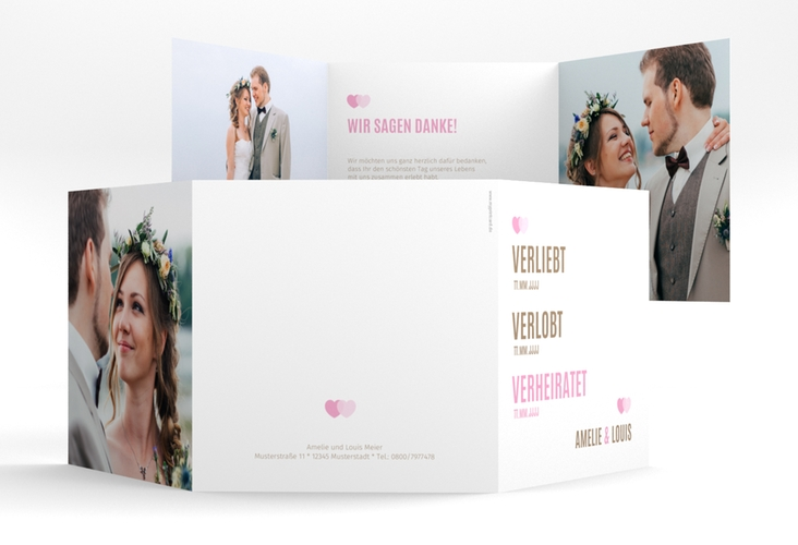 "Dankeskarte Hochzeit ""Couple"" Quadr. Karte doppelt rosa"
