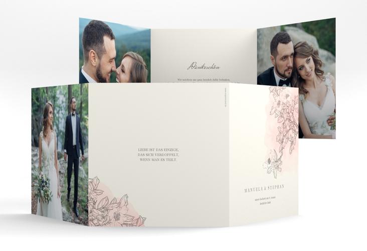 """Dankeskarte Hochzeit """"Artlover"""" Quadr. Karte doppelt rosa"""