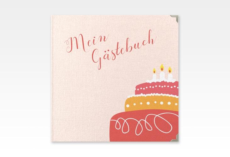 "Gästebuch Selection Geburtstag ""Cake"" Leinen-Hardcover rot"