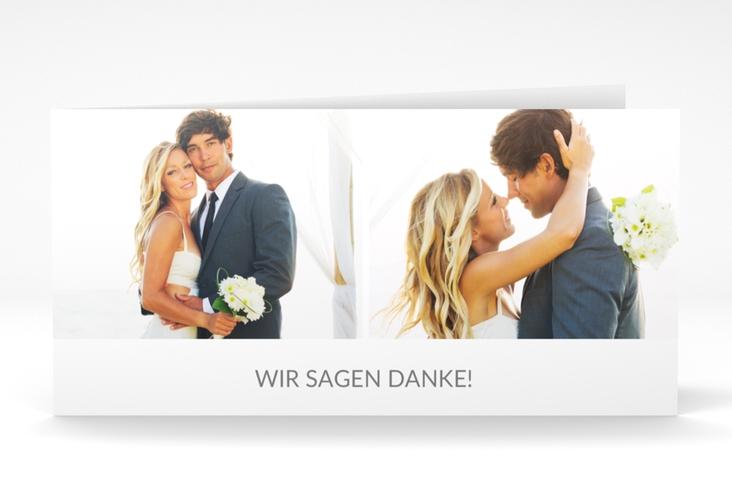 "Danksagungskarte Hochzeit ""Vista"" DIN lang Klappkarte weiss"