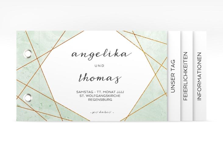 """Hochzeitseinladung """"Asymmetry"""" Booklet gruen"""
