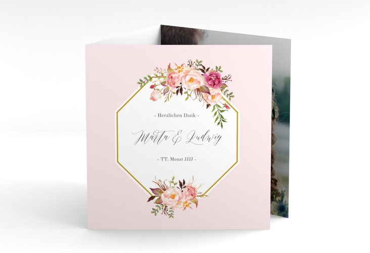 """Dankeskarte Hochzeit """"Prachtvoll"""" Quadr. Karte doppelt rosa"""