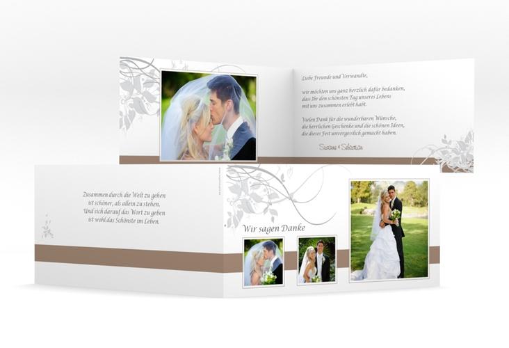 """Dankeskarte Hochzeit """"Florenz"""" DIN lang Klappkarte braun"""