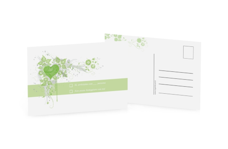 Biglietti risposta matrimonio collezione Trieste A6 Postkarte verde