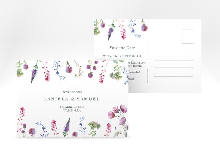 """Save the Date-Postkarte """"Wildblumen"""" A6 Postkarte"""