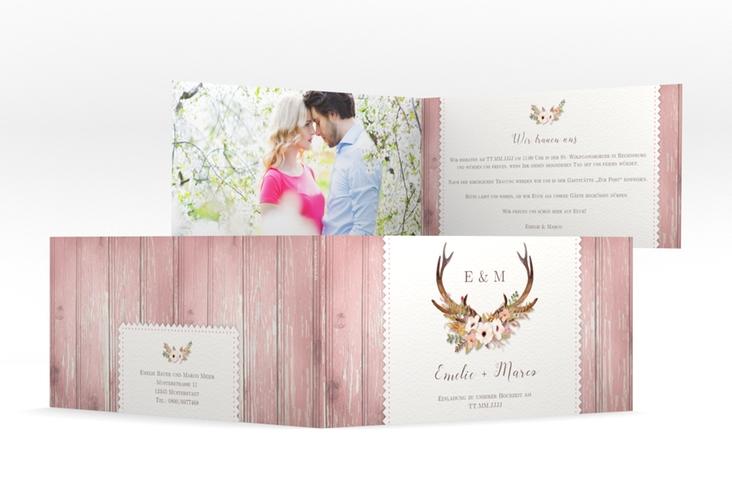 "Hochzeitseinladung ""Heimatjuwel"" DIN lang Klappkarte rosa"