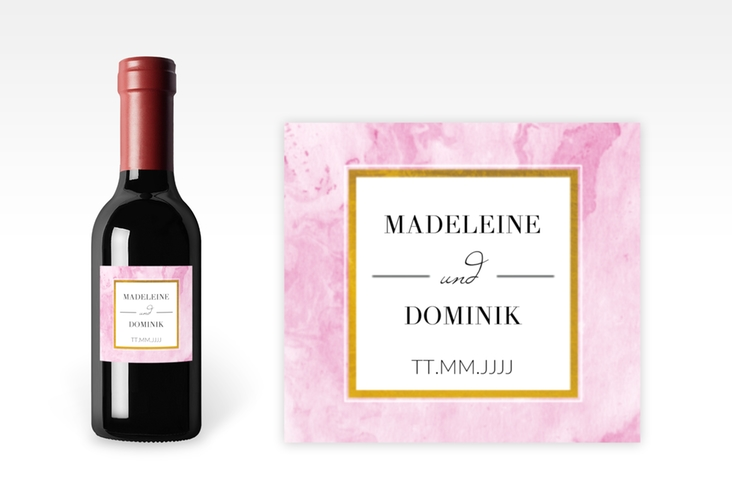 "Piccoloetikett Hochzeit ""Marble"" Etikett Piccolo rosa"
