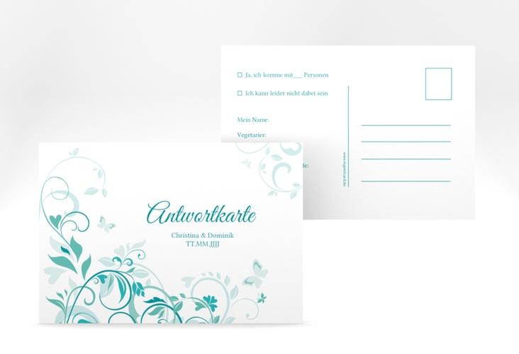 """Antwortkarte Hochzeit """"Lilly"""" A6 Postkarte tuerkis"""