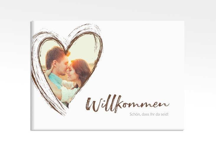 """Willkommensschild Leinwand """"Liebe"""" 70 x 50 cm Leinwand braun"""