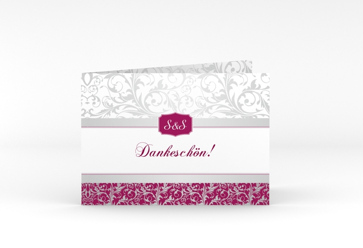 "Danksagungskarte Hochzeit ""Latina"" A6 Klappkarte Quer pink"