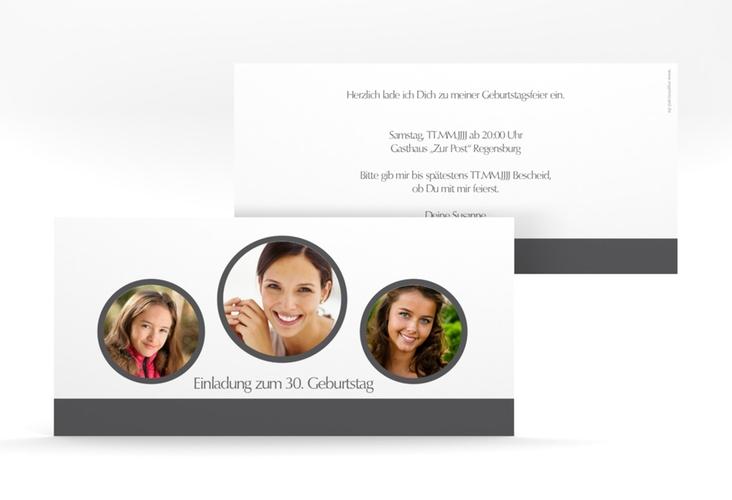 """Einladungskarte """"Anton/Antonia"""" DIN lang grau"""
