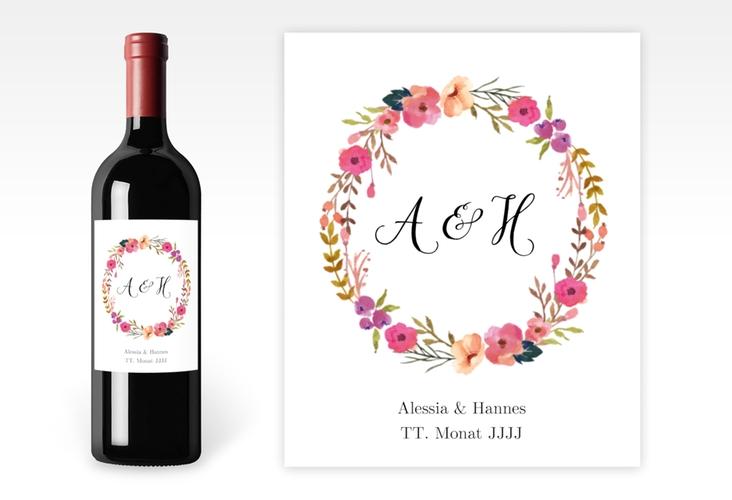 """Weinetikett zur Hochzeit """"Fiore"""" Etikett Weinflasche 4er Set weiss"""