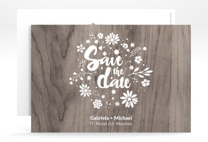 "Save the Date-Karte ""Buttercup"" A6 quer beige"