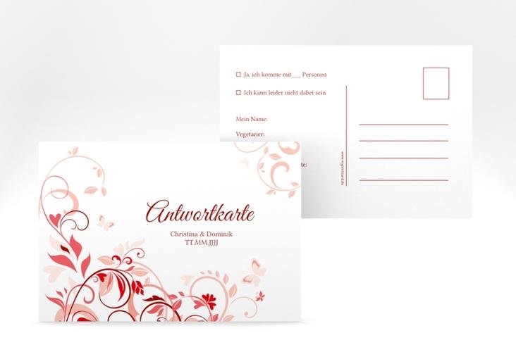 """Antwortkarte Hochzeit """"Lilly"""" A6 Postkarte rot"""