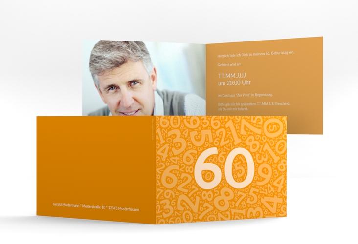 """Einladungskarte """"Chiffre"""" A6 Klappkarte Quer orange"""