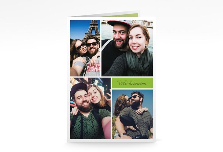 """Kirchenheft Hochzeit """"Collage"""" DIN A5 geklappt gruen"""