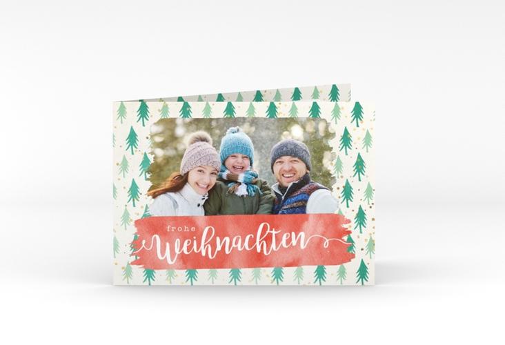 """Weihnachtskarte """"Winterwald"""" A6 Klappkarte Quer"""