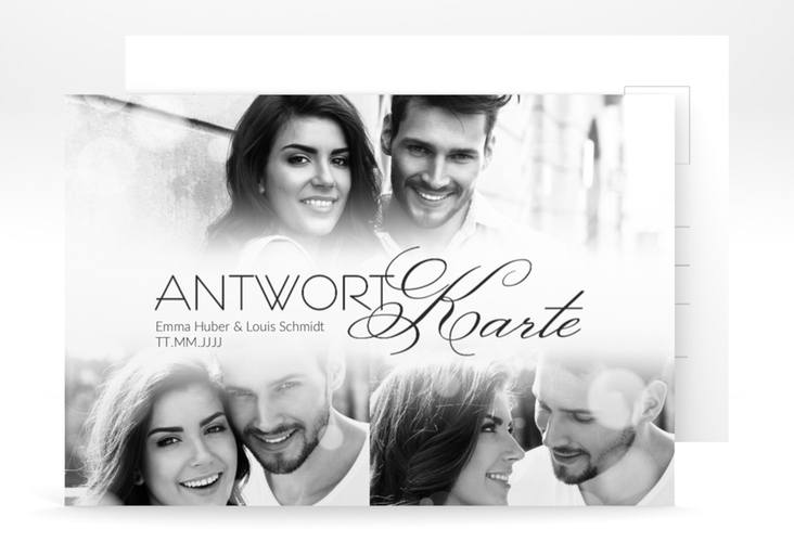 "Antwortkarte Hochzeit ""Bokeh"" A6 Postkarte weiss"