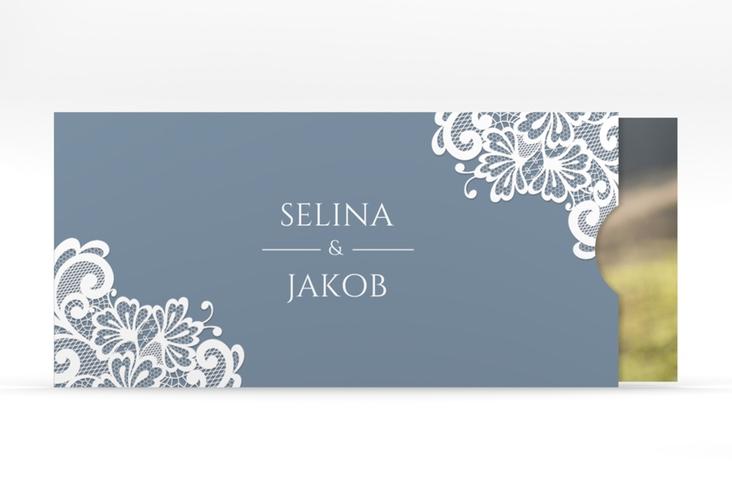 """Hochzeitseinladung """"Vintage"""" Einsteckkarte blau"""