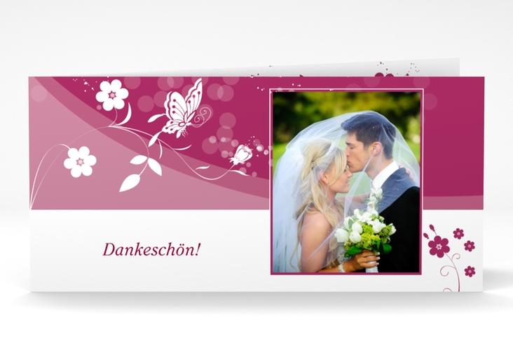 "Danksagungskarte Hochzeit ""Verona"" DIN lang Klappkarte pink"