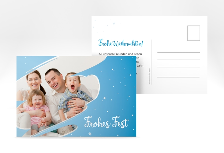 "Weihnachtskarte ""Ice"" A6 Postkarte blau"