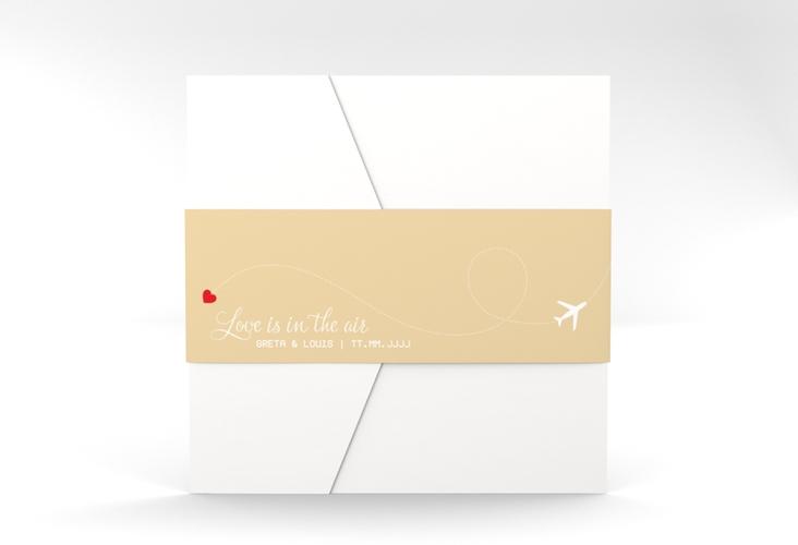 """Hochzeitseinladung """"Weddingpass"""" Pocketfold beige"""