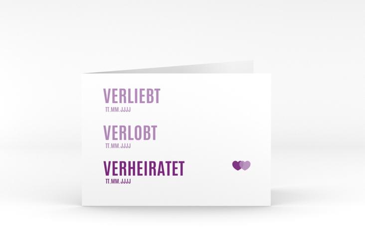 """Danksagungskarte Hochzeit """"Couple"""" A6 Klappkarte Quer lila"""