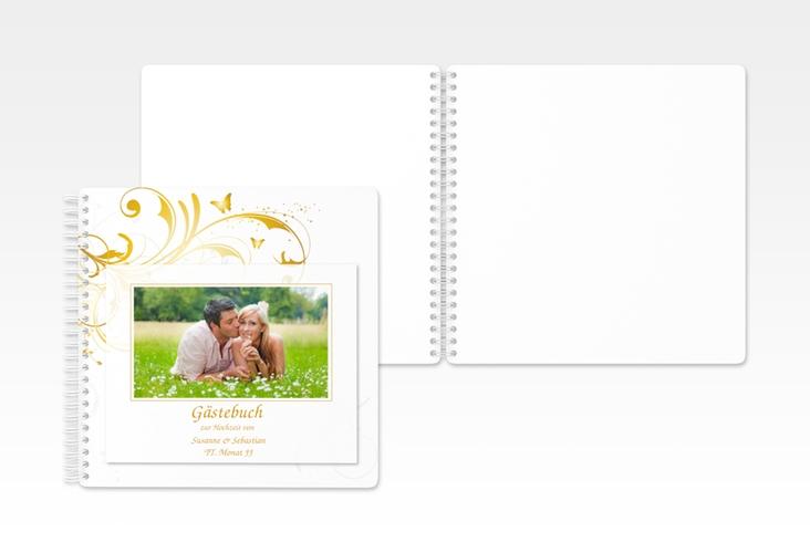"""Gästebuch Hochzeit """"Palma"""" Ringbindung gold"""