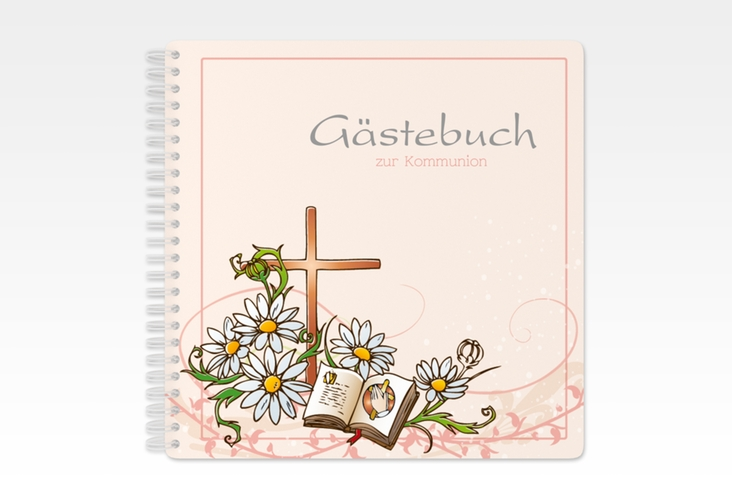 "Gästebuch Kommunion ""Margeriten"" Ringbindung rosa"