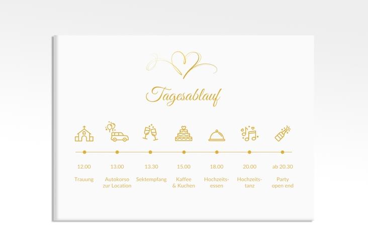 """Tagesablauf Leinwand Hochzeit """"Envie"""" 70 x 50 cm Leinwand gold"""