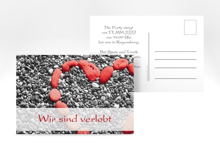 "Verlobungskarte Hochzeit ""Bilbao"" A6 Postkarte rot"