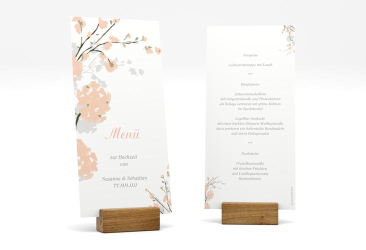 """Menükarte Hochzeit """"Salerno"""" DIN lang hoch apricot"""